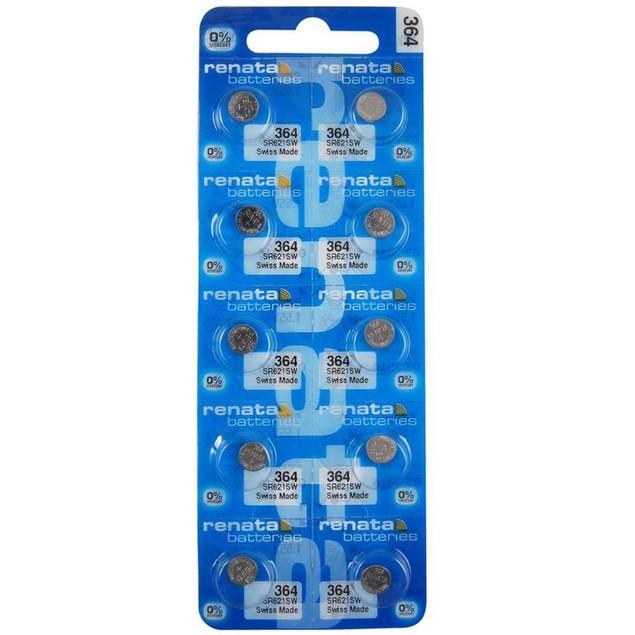 Renata 364 (SR621W) Silver Oxide Watch Batteries (10 Pack)