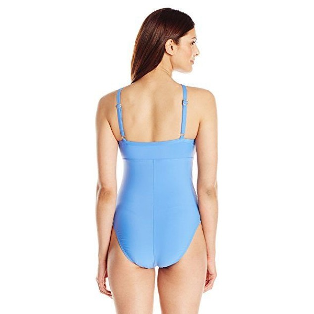 ATHENA Women's Cabana Solids High Neck One Piece Swimsuit, Blue, SIZE