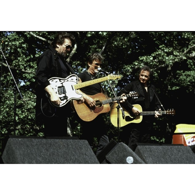 Johnny Cash, Waylon Jennings and Kris Kristofferson on stage Poster