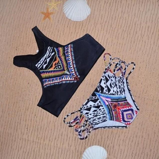 Bohemia High Neck Bikini Set Printed Swimsuit Padded Bra Beach