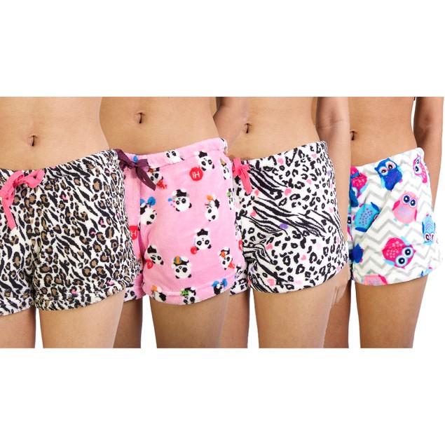4-Pack Junior Super Soft Printed Plush Shorts