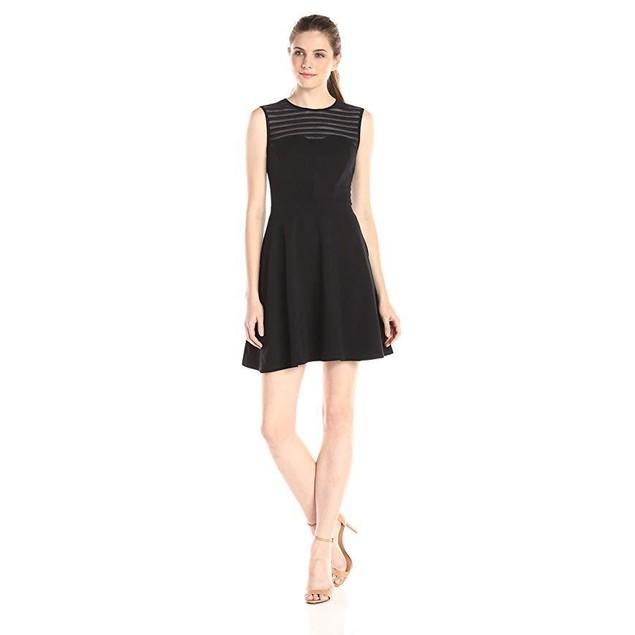 Shoshanna Women's Stretch Mesh Stripe Calvin Sleeveless Dress, Jet, 6