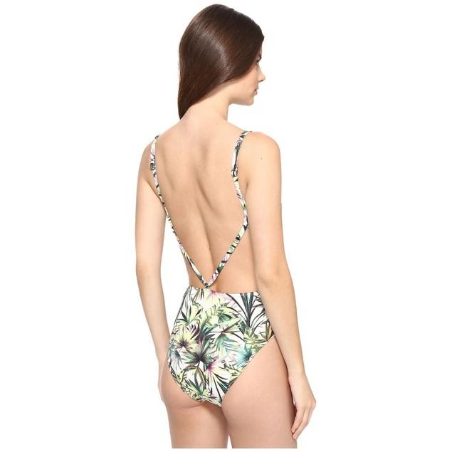 Lucky Brand Women's Coastal Palms One Piece Swimsuit, Ivy, SZ SMALL