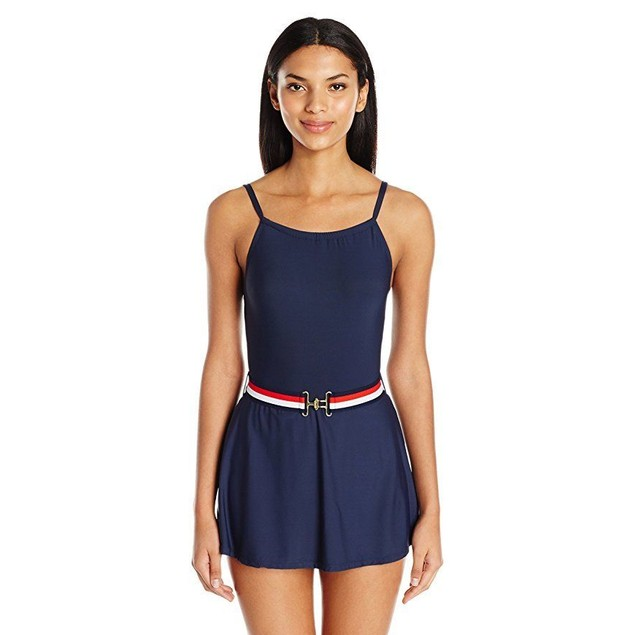 Tommy Hilfiger Women's Signature Stripe High Neck Swim Dress One Piece