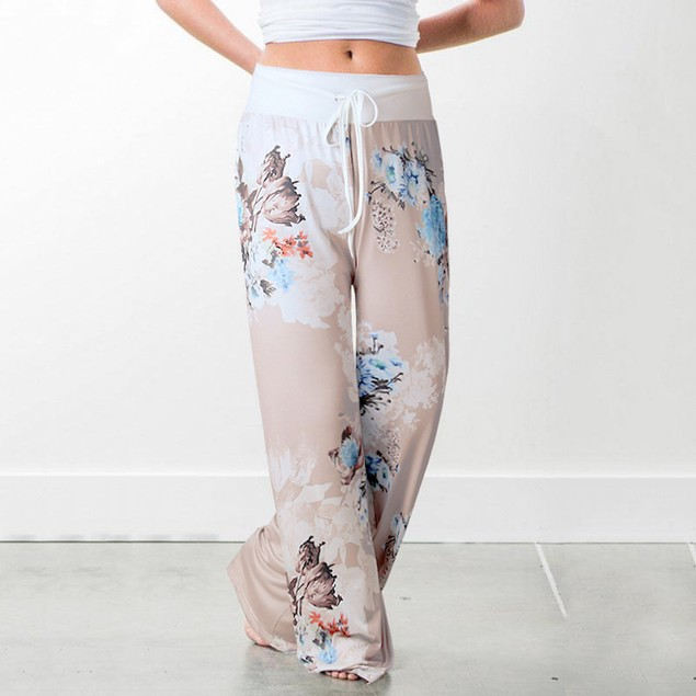Flower Pants with White Waist