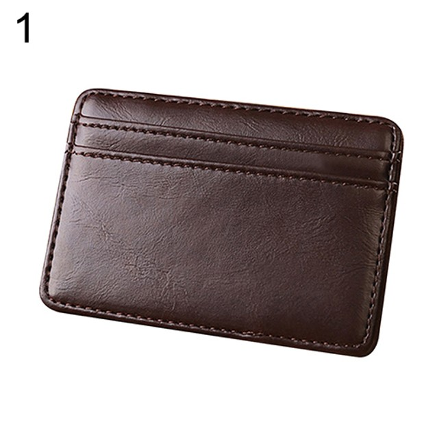 Men's Fashion Magic Faux Leather Slim Wallet Money Clip Card Holder Purse