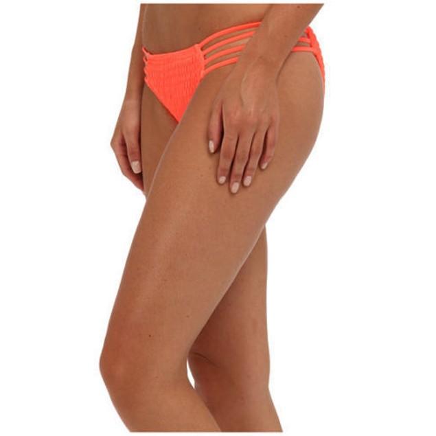 O'Neill Juniors Solids Multi Tab Side Bikini Bottom, Hot Coral, X-Larg