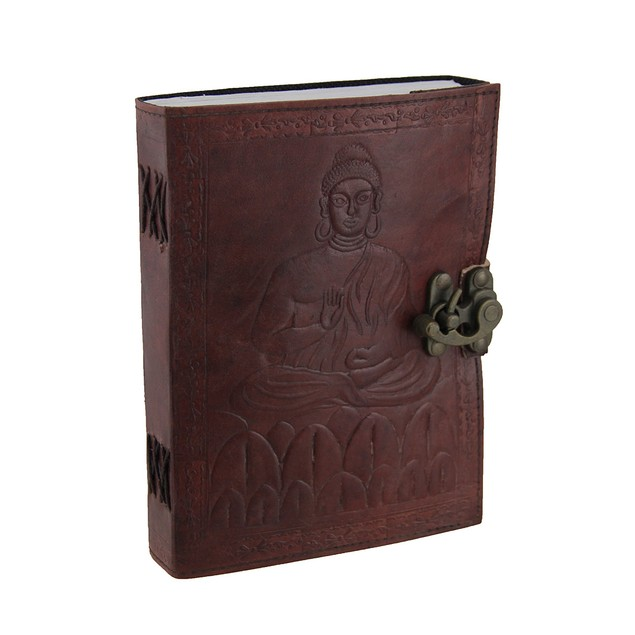 Embossed Leather Meditating Buddha 120 Leaf Diary Art Sketchbooks And
