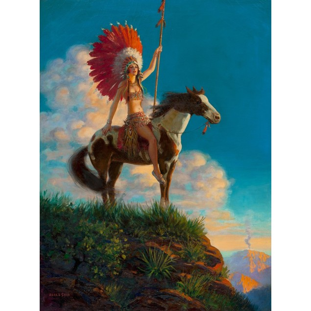Pulp art of a Native American woman on a horse wearing a large feathered he