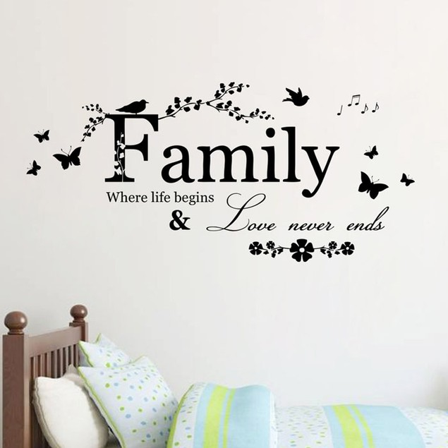 Family Flower Butterfly Art Vinyl Quote Wall Stickers