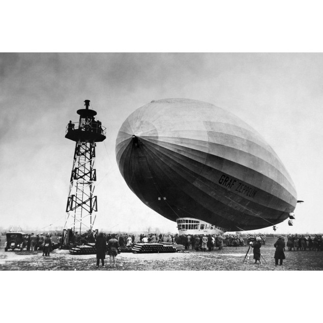 Graf Zeppelin. /Nthe German Airship 'Graf Zeppelin' Approaching Its Mooring