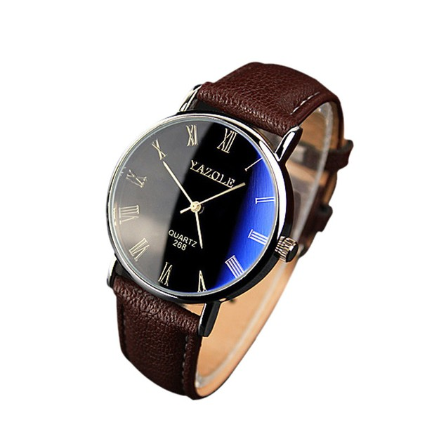 Luxury Fashion Faux Leather Men's Quartz Analog Watch