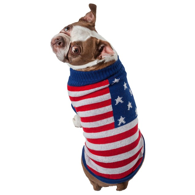 Patriot Independence Star Heavy Knitted Ribbed Turtle Neck Dog Sweater