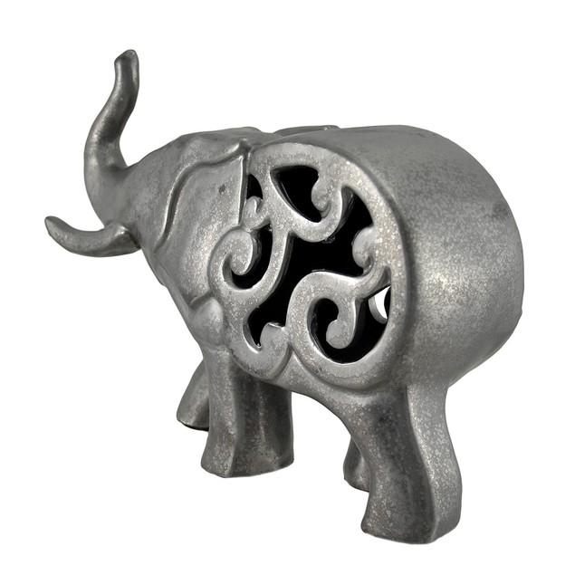Metallic Pewter Finish Ceramic Elephant 12 Inches Statues