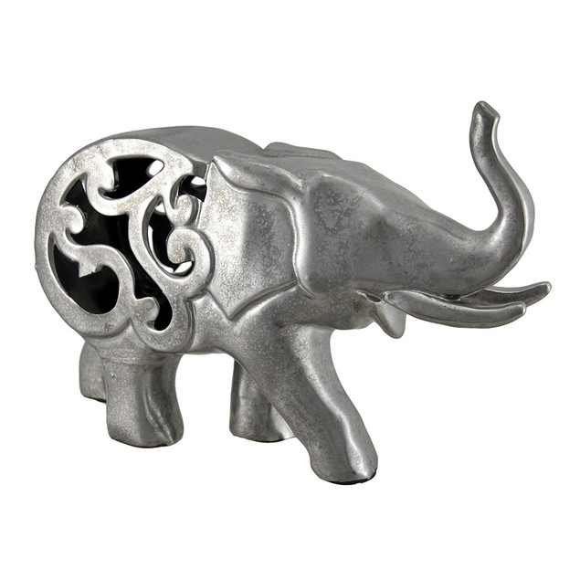 Metallic Pewter Finish Ceramic Elephant 12 Inches Statues