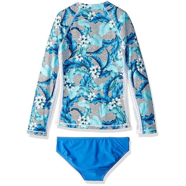 Seafolly Girls' Big L/S Surf Set Swimsuit, Hawaii Blue, 8