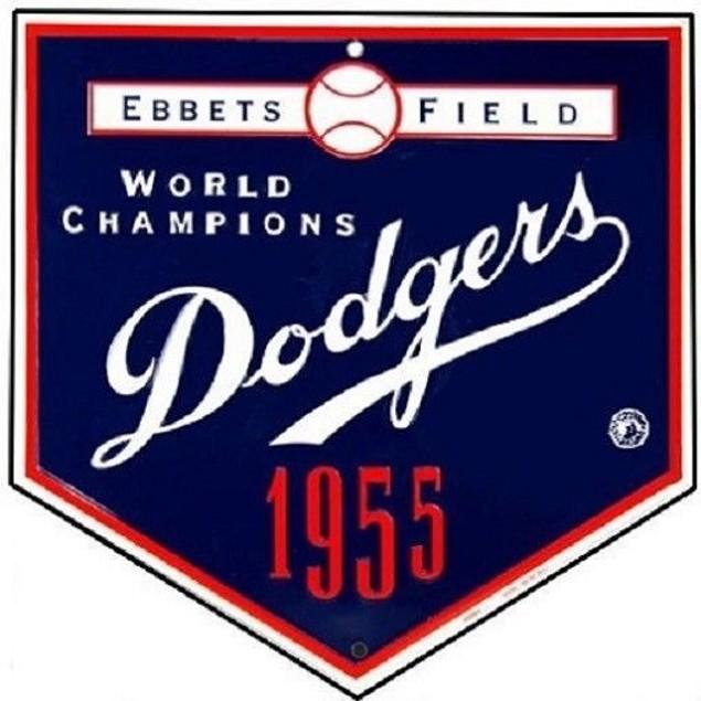 Brooklyn Dodgers MLB World Series Champions Ebbets Field Metal Banner Sign