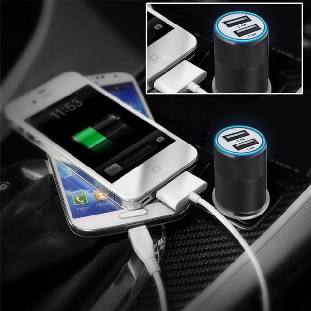 2.1A/24W 2-Port Smart USB Quick Charge Car Charger