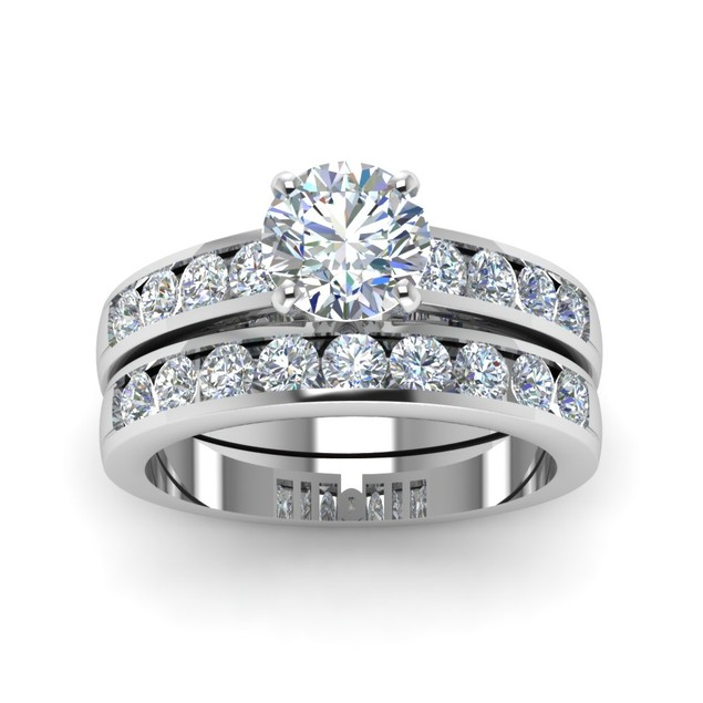 925 Sterling Silver Round Cubic Zirconia 2pc Engagement Rings Set