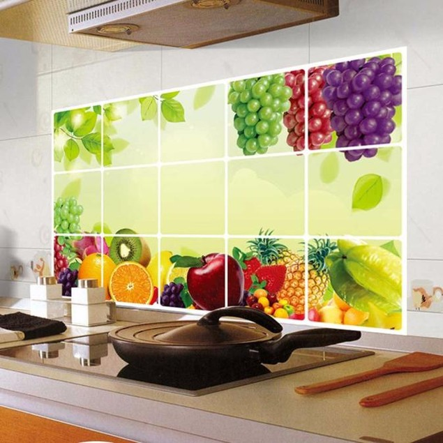 Removable DIY Kitchen Decor House Decals Aluminum Foil Wall Sticker A