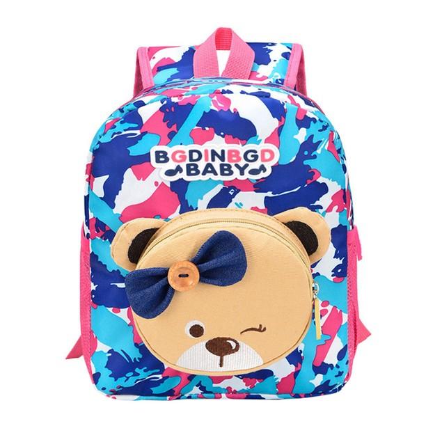 Baby Kids Bear Pattern Animals Camouflage Backpack Toddler School Bag