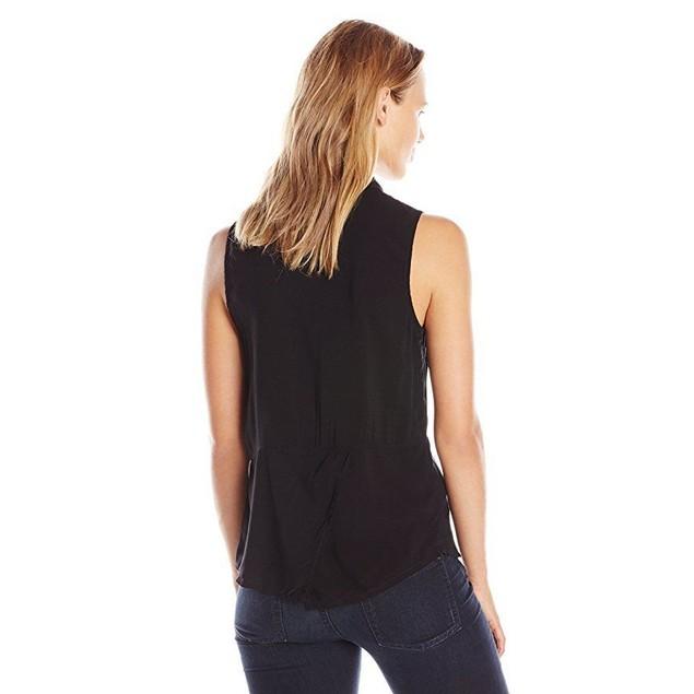 Splendid Women's Sleeveless Button Front Blouse Shirt, Black,Sz  Mediu