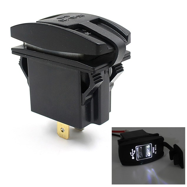 Car Auto Boat Accessory Dual USB Charger Power Adapter LED Outlet