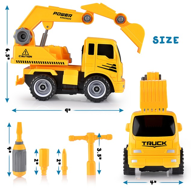 Fun Educational Take Apart Construction Truck Engineering Toy Playset
