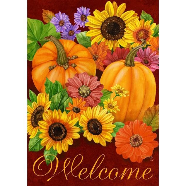 Fall Glory Floral Garden Flag Pumpkins Sunflowers Autumn Garden Flag