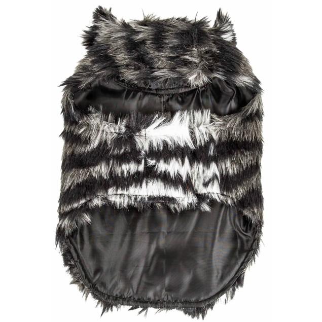Pet Life Luxe 'Chauffurry' Zebra Patterned Mink Fur Dog Coat Jacket
