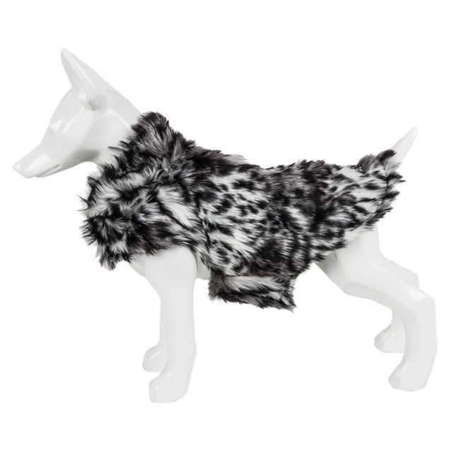 Pet Life Luxe 'Paw Dropping' Gray-Scale Tiger Pattern Mink Fur Dog Coat