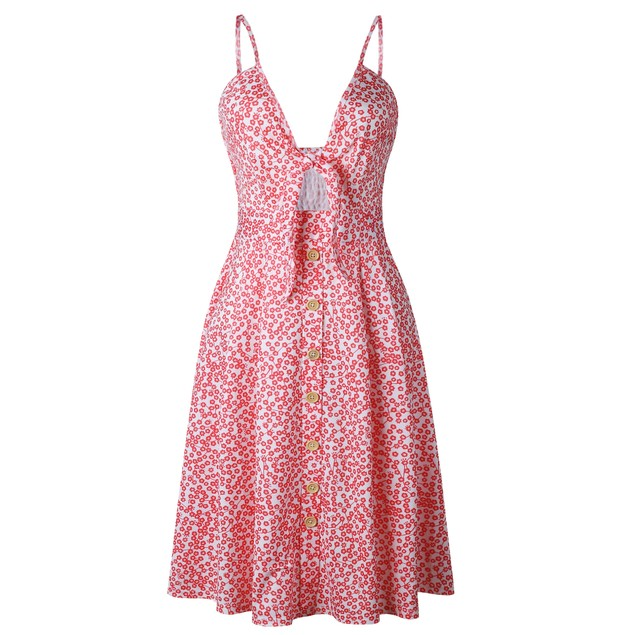 Pattern Front Tie Dress