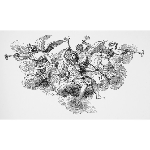 Angels. /Nline Engraving, French, 18Th Century. Poster