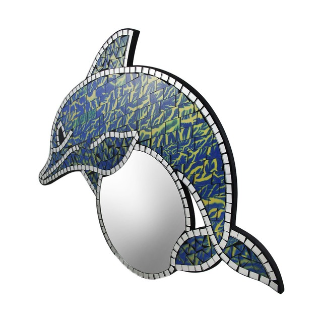 Blue & Gold Mosaic Art Glass Dolphin Shaped Wall Wall Mounted Mirrors