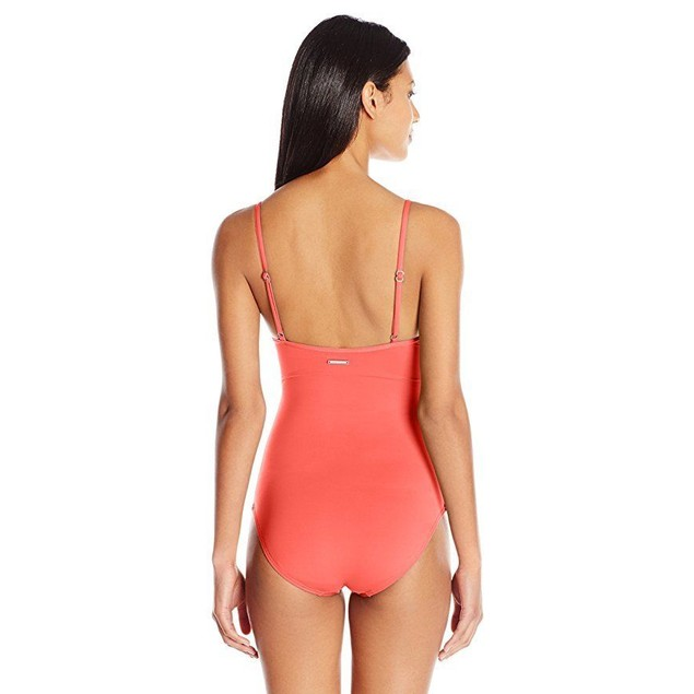 Vince Camuto Women's Wrap One Piece Swimsuit, Fiji Pop Coral, 10 …
