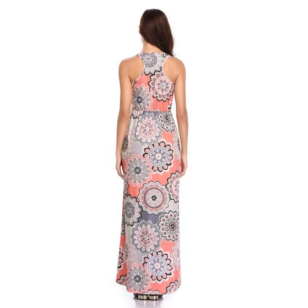 Mandala Print Maxi Dress