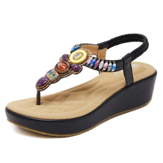Comfy sandals - Rhinestone Bohemian Thick Bottom Sandals