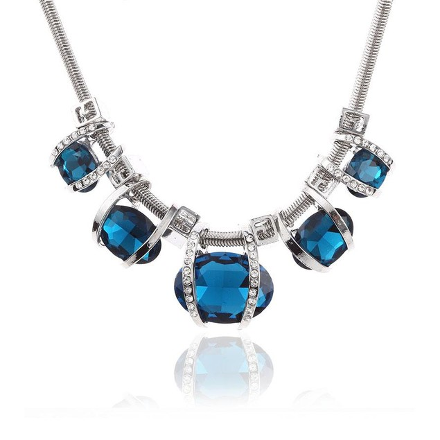 Novadab Aquamarine Gem Statement Necklace For Women