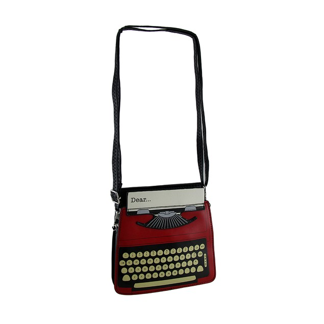 Antique Text Red & Black Vintage Typewriter Purse Womens Shoulder Handbags