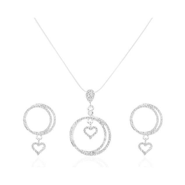 Novadab Eternal Love Hearts Crystallized Necklace With Earrings