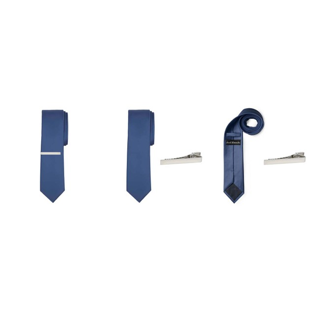 Jacob Alexander Solid Color Men's Skinny Tie and clip 2 pc set