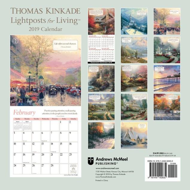 Kinkade Lightposts for Living Wall Calendar, Kinkade by Calendars