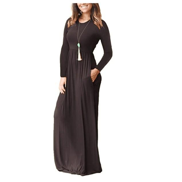 Long Sleeve Solid Maxi Dress - 4 Colors