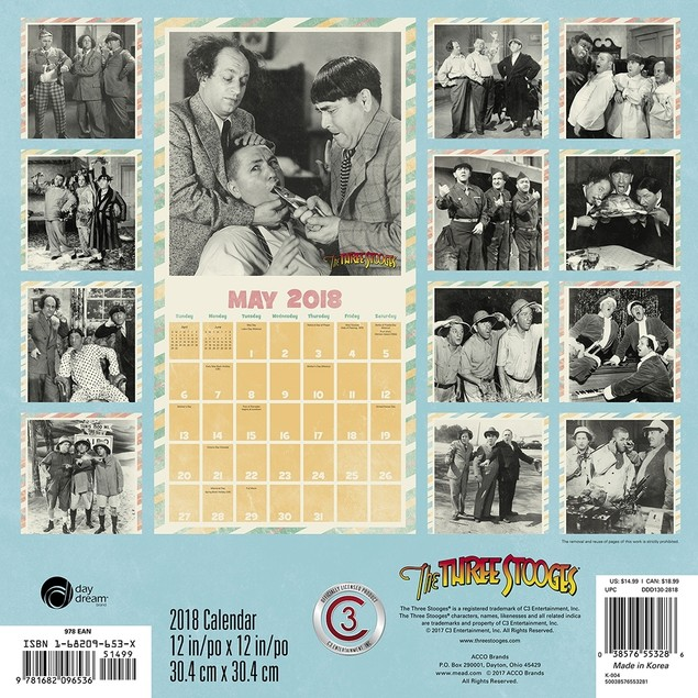 The Three Stooges Wall Calendar, Classic TV by Calendars