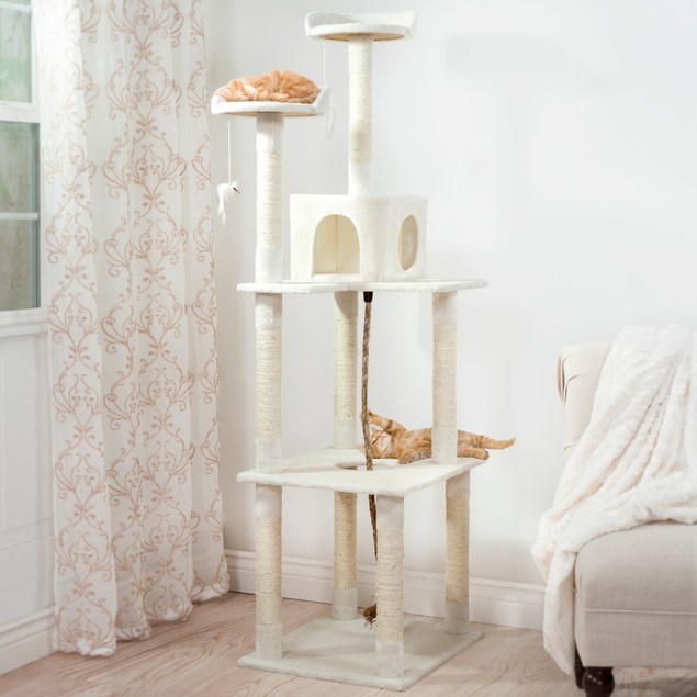 PETMAKER Sleep and Play Cat Tree - 6 ft tall - Ivory