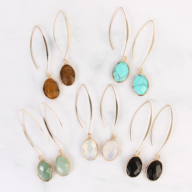Classic Hoop Natural Stone Earrings