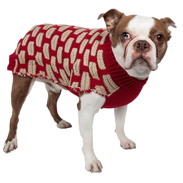 Fashion Weaved Heavy Knit Designer Ribbed Turtle Neck Dog Sweater