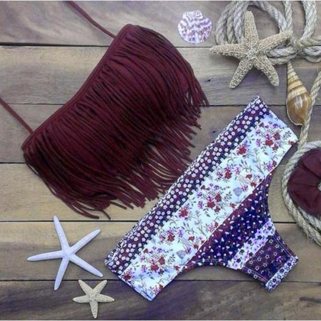 Women Swimwear Bikini Set Bandage Push-Up Padded Swimsuit Beachwear