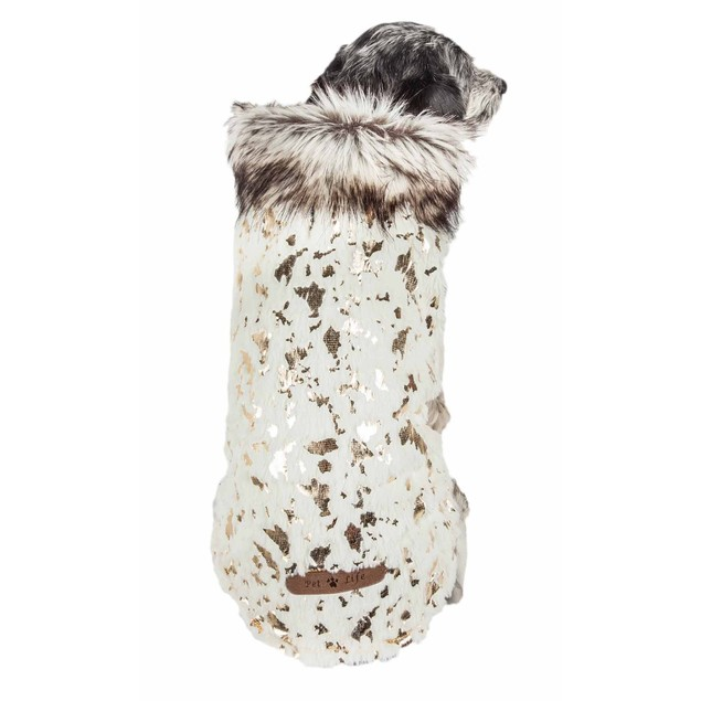 Pet Life Luxe 'Gilded Rawffled' Gold-Plated Fur Dog Jacket Coat