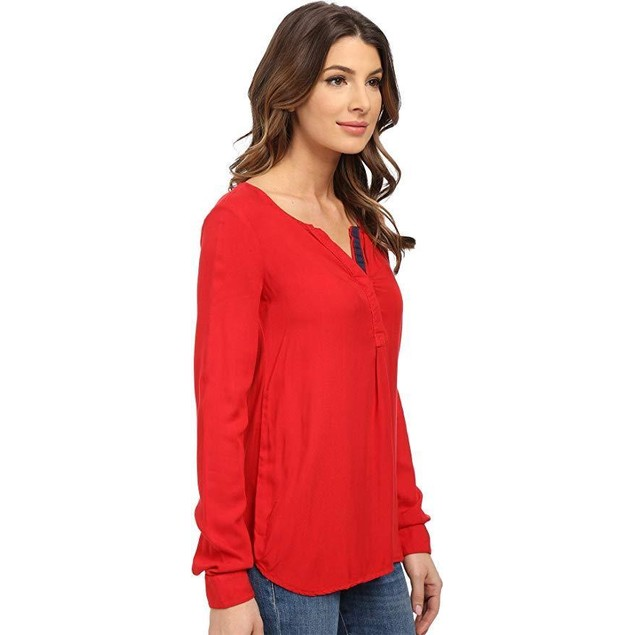 Three Dots Womens Sonia V-Neck Contrast Casual Top Red S